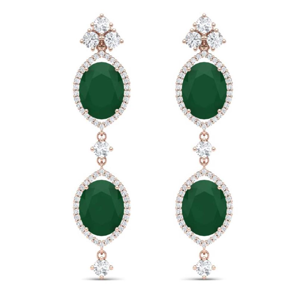 15.81 ctw Emerald & VS Diamond Earrings 18K Rose Gold - REF-309M3F - SKU:38905
