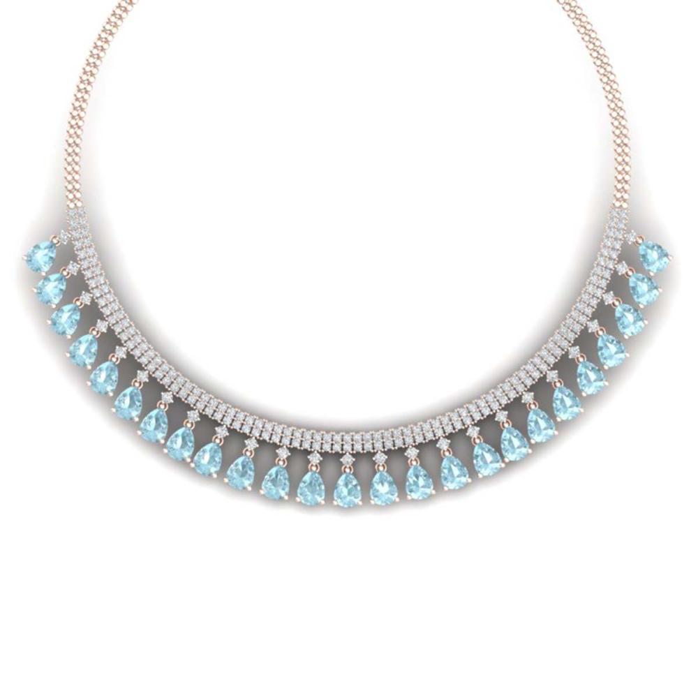 43.05 ctw Sky Topaz & VS Diamond Necklace 18K Rose Gold - REF-854N5A - SKU:38881