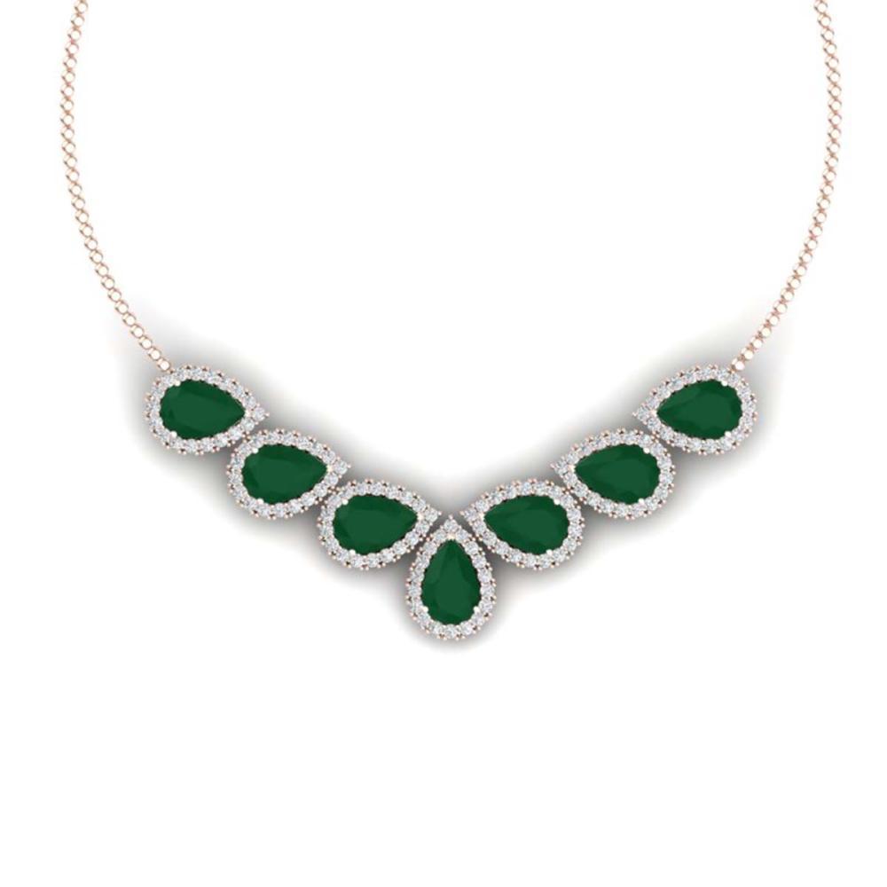 34.72 ctw Emerald & VS Diamond Necklace 18K Rose Gold - REF-690F9N - SKU:38827