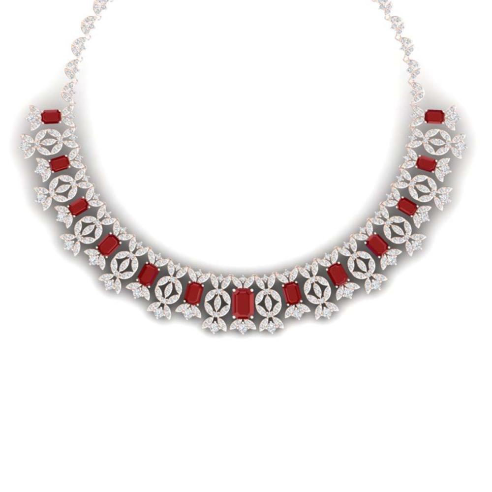 50.44 ctw Ruby & VS Diamond Necklace 18K Rose Gold - REF-1709Y3X - SKU:39379