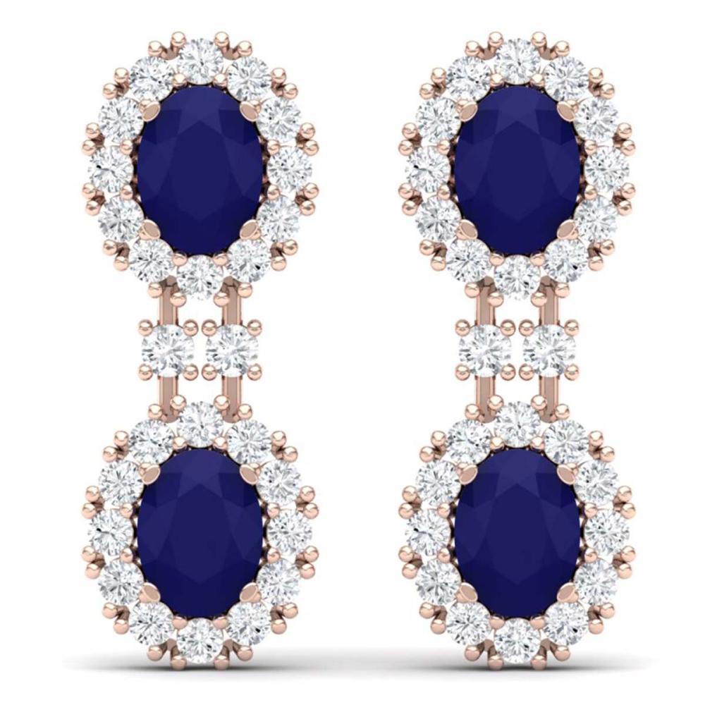 8.98 ctw Sapphire & VS Diamond Earrings 18K Rose Gold - REF-218A2V - SKU:38815