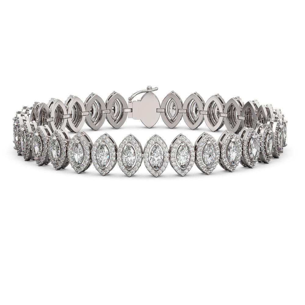 13.1 ctw Marquise Diamond Bracelet 18K White Gold - REF-1100W6H - SKU:43085