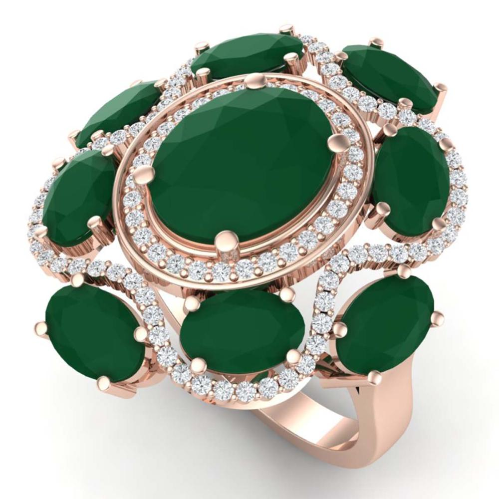 9.86 ctw Emerald & VS Diamond Ring 18K Rose Gold - REF-218F2N - SKU:39292