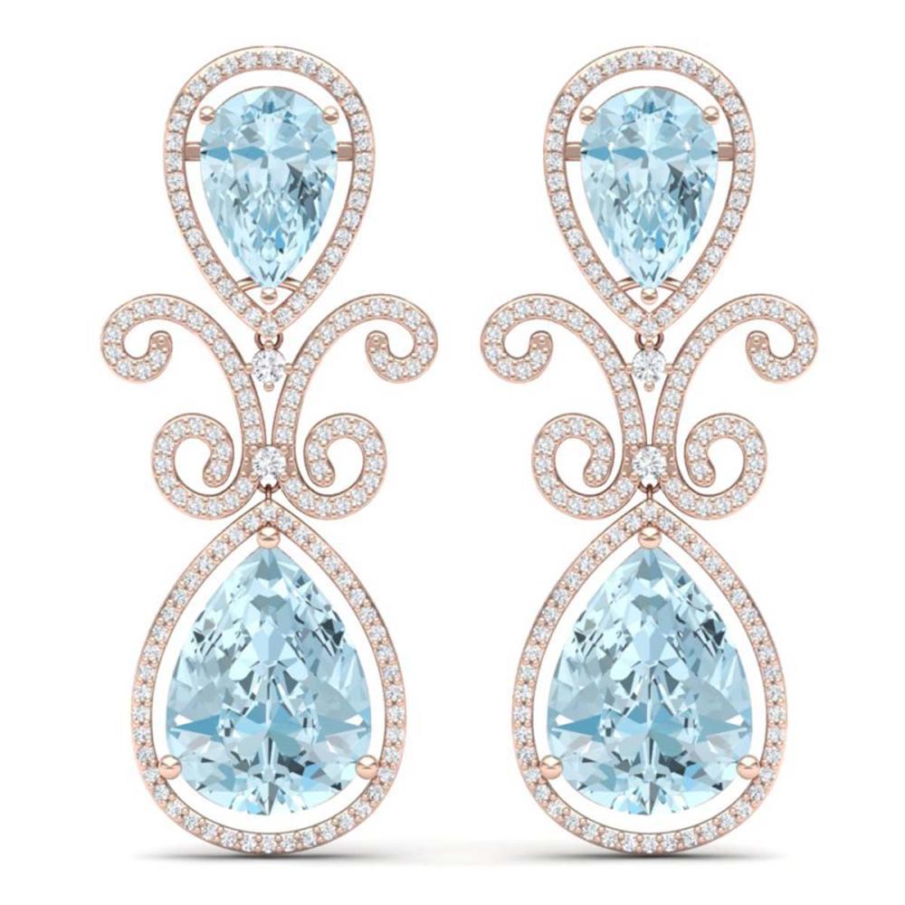 30.49 ctw Sky Topaz & VS Diamond Earrings 18K Rose Gold - REF-301R8K - SKU:39550