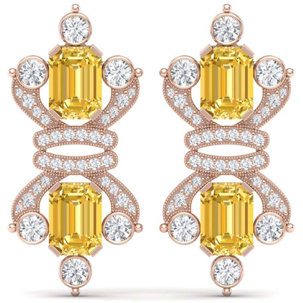 25.35 ctw Canary Citrine & VS Diamond Earrings 18K Rose Gold - REF-490A9V - SKU:38773