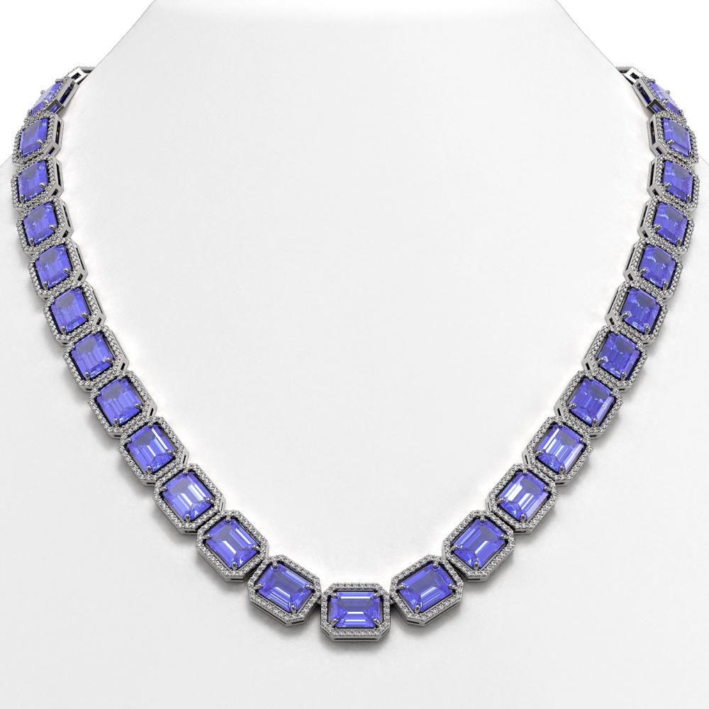 79.99 ctw Tanzanite & Diamond Halo Necklace 10K White Gold - REF-1704W2H - SKU:41483