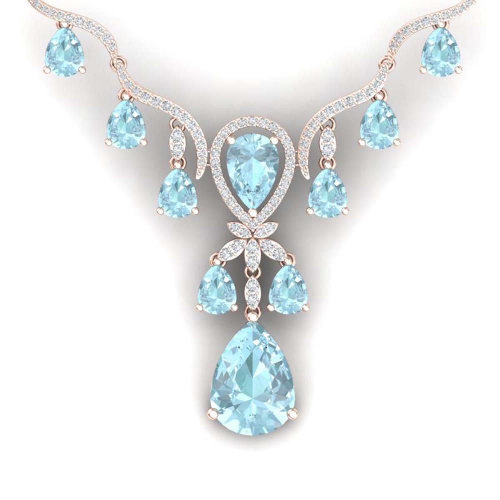38.14 ctw Sky Topaz & VS Diamond Necklace 18K Rose Gold - REF-618Y2X - SKU:38599