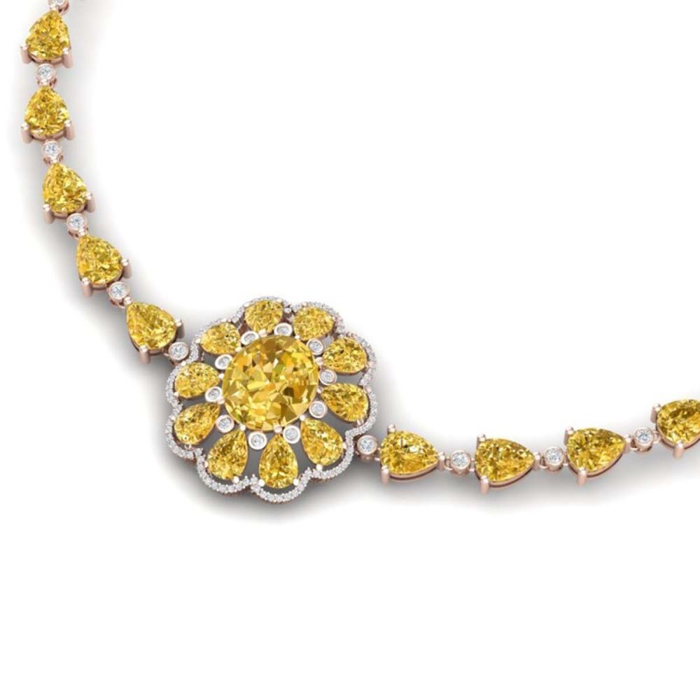 72.38 ctw Canary Citrine & VS Diamond Necklace 18K Rose Gold - REF-509Y3X - SKU:39181