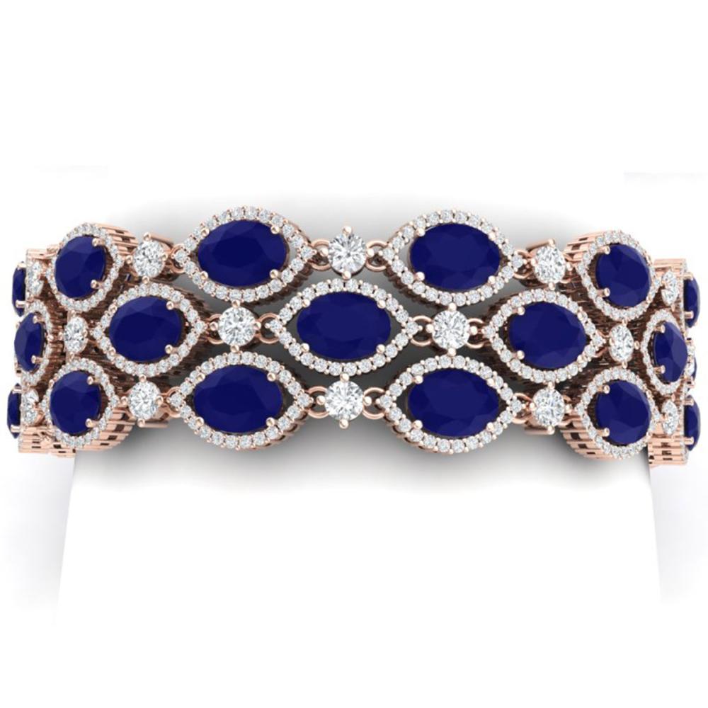 47.84 ctw Sapphire & VS Diamond Bracelet 18K Rose Gold - REF-1145H5M - SKU:38893