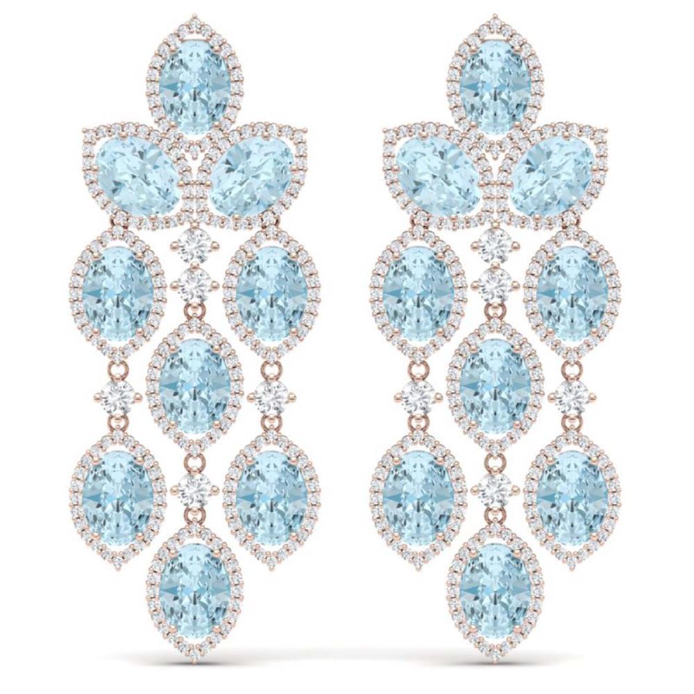 23.76 ctw Sky Topaz & VS Diamond Earrings 18K Rose Gold - REF-427F3N - SKU:38935