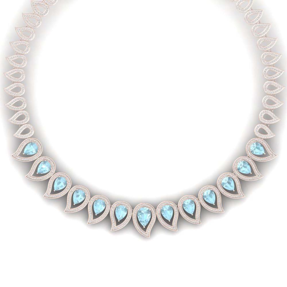 34.96 ctw Sky Topaz & VS Diamond Necklace 18K Rose Gold - REF-1145F5N - SKU:39445