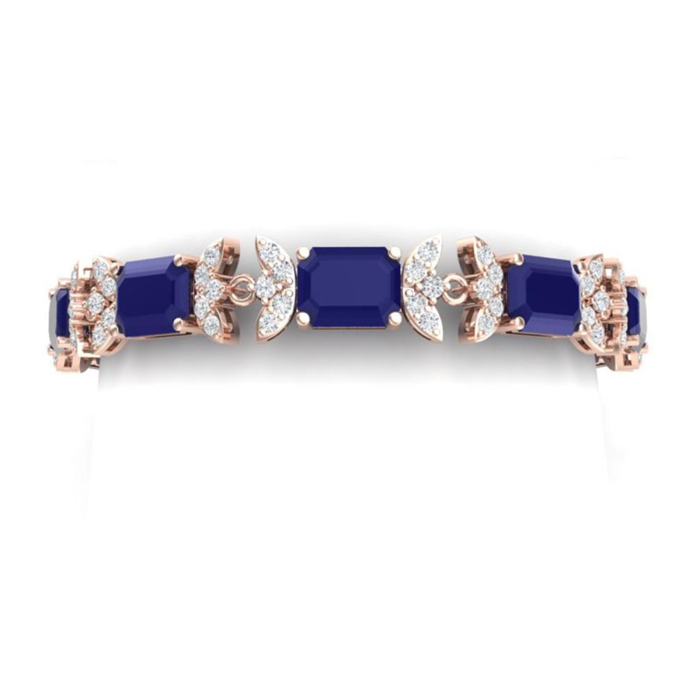 38.13 ctw Sapphire & VS Diamond Bracelet 18K Rose Gold - REF-527K3W - SKU:39397