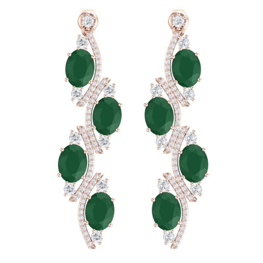 16.12 ctw Emerald & VS Diamond Earrings 18K Rose Gold - REF-290N9A - SKU:38977