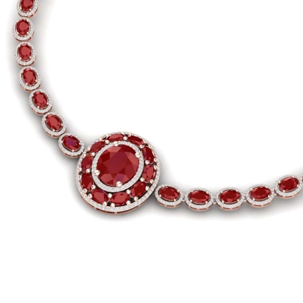 43.54 ctw Ruby & VS Diamond Necklace 18K Rose Gold - REF-1054H5M - SKU:39277