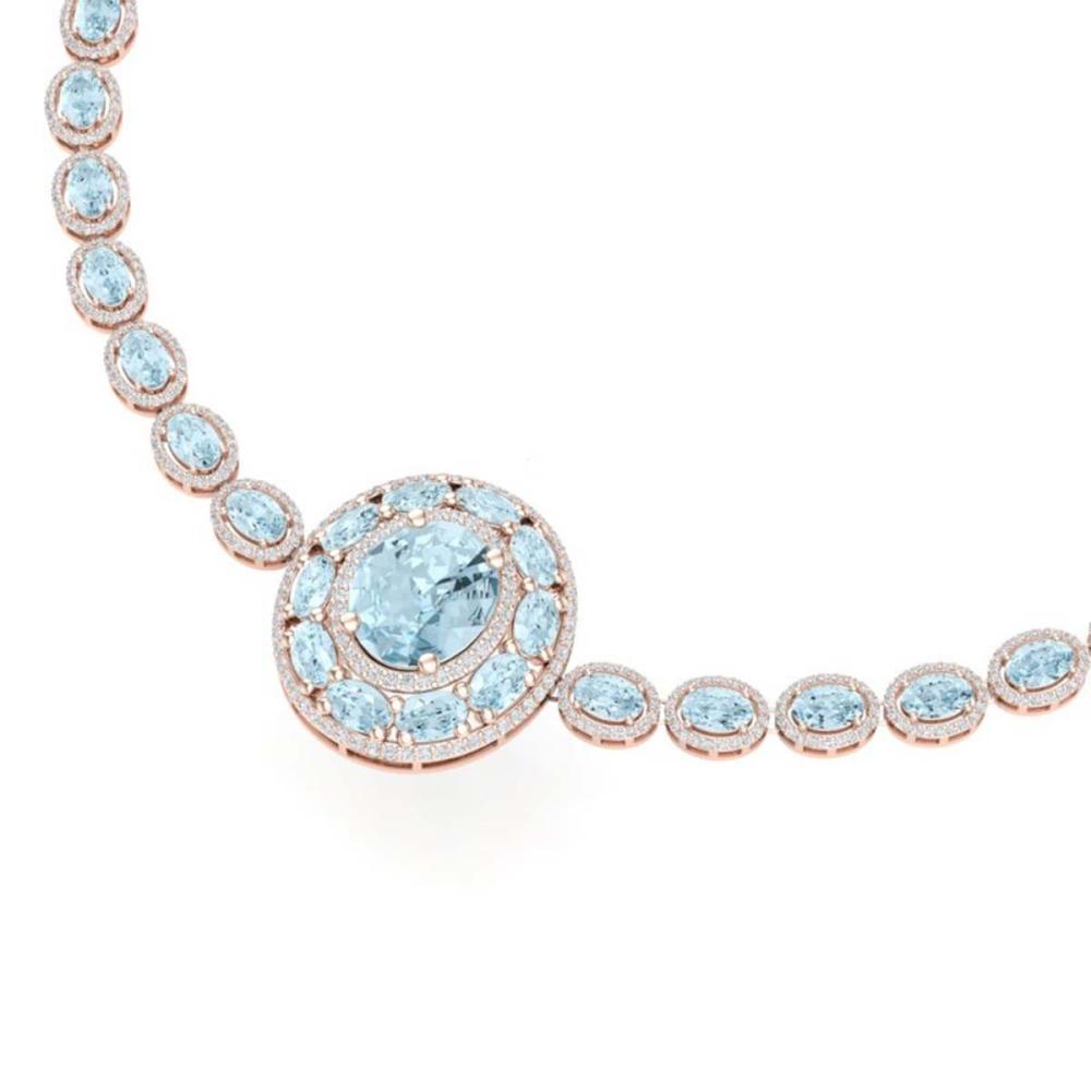 45.12 ctw Sky Topaz & VS Diamond Necklace 18K Rose Gold - REF-890F9N - SKU:39286
