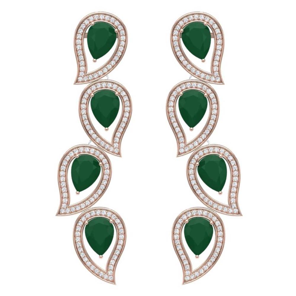 16.44 ctw Emerald & VS Diamond Earrings 18K Rose Gold - REF-385Y5X - SKU:39451