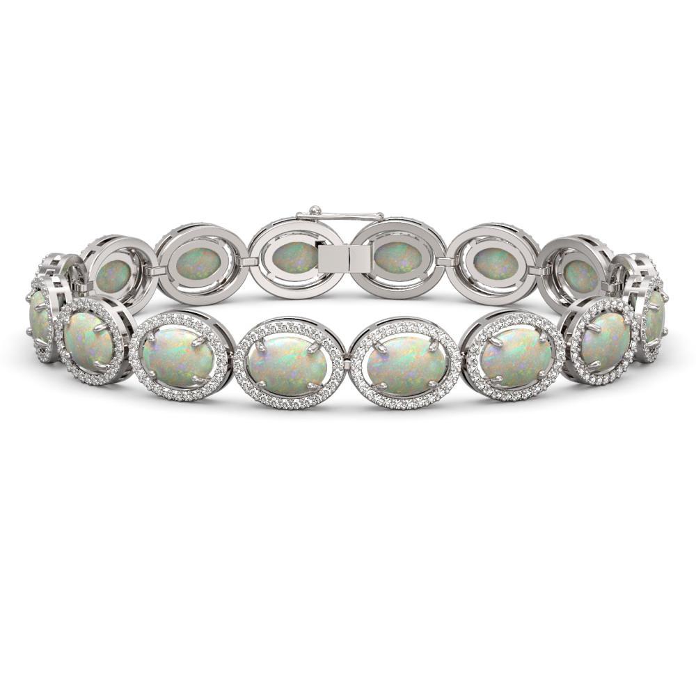 18.33 ctw Opal & Diamond Halo Bracelet 10K White Gold - REF-356H2M - SKU:40712