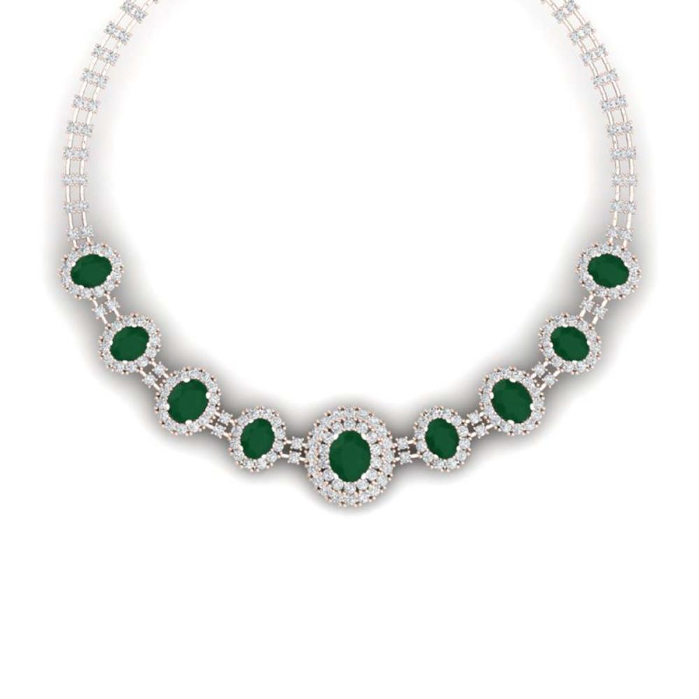45.69 ctw Emerald & VS Diamond Necklace 18K Rose Gold - REF-1618X2R - SKU:38791