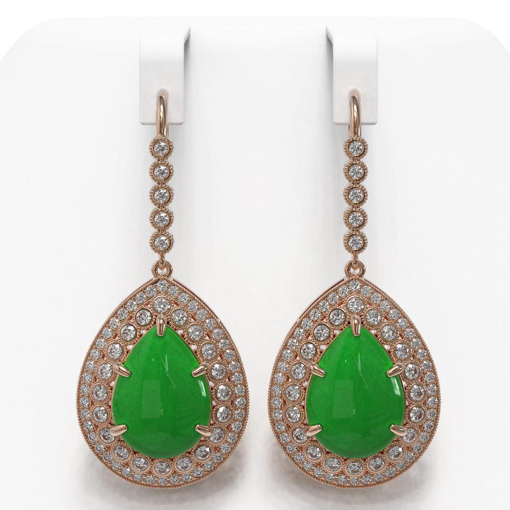 20.82 ctw Jade & Diamond Earrings 14K Rose Gold - REF-416K5W - SKU:46186