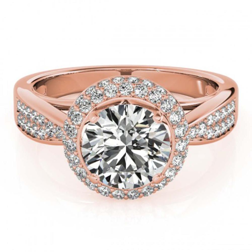 1.65 ctw VS/SI Diamond Halo Ring 18K Rose Gold - REF-300R2K - SKU:27007
