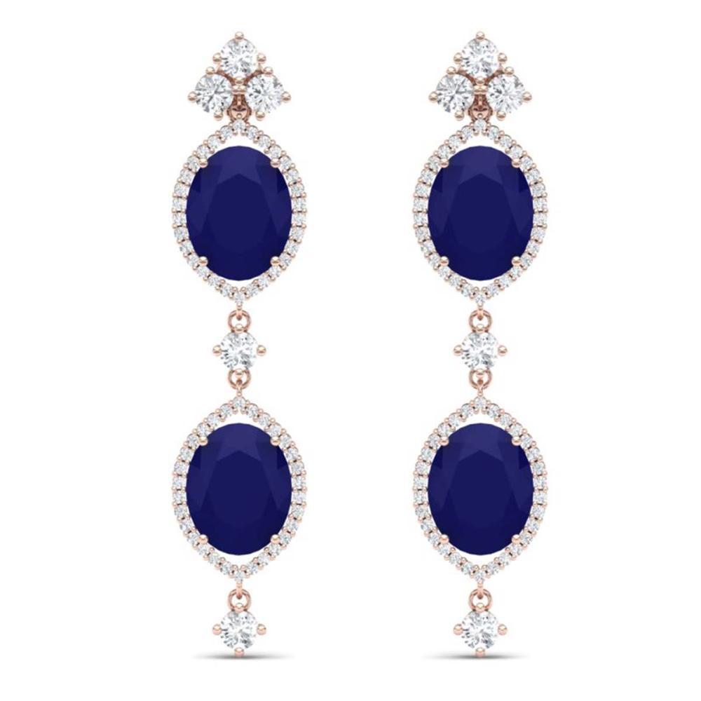 15.81 ctw Sapphire & VS Diamond Earrings 18K Rose Gold - REF-290V9Y - SKU:38911
