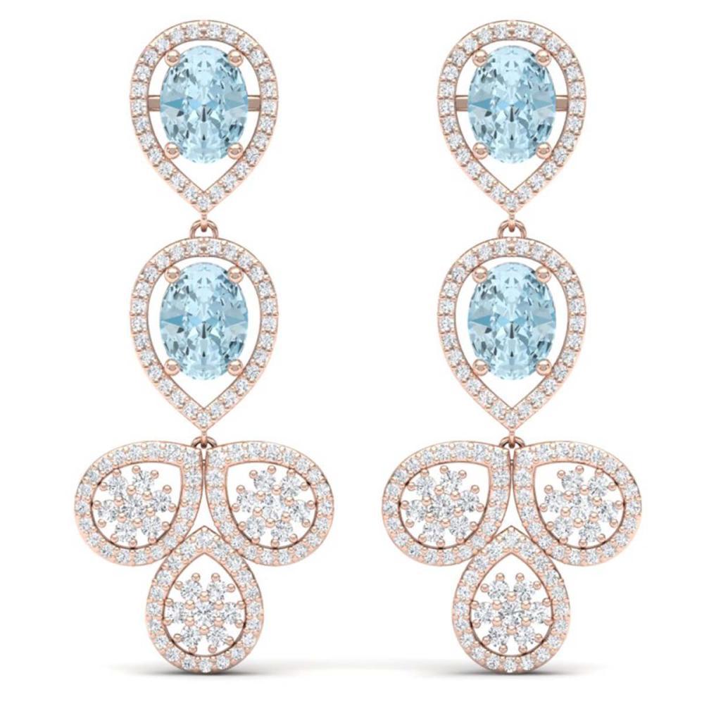 9.55 ctw Sky Topaz & VS Diamond Earrings 18K Rose Gold - REF-272H7M - SKU:39091