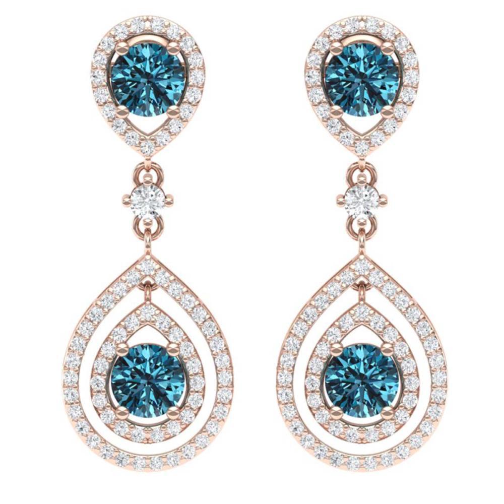 3.94 ctw Fancy Blue, SI Diamond Earrings 18K Rose Gold - REF-354N5A - SKU:39115