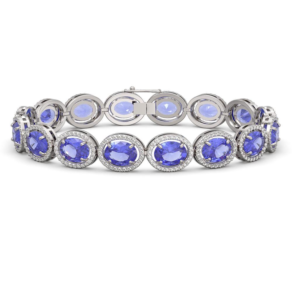 27.28 ctw Tanzanite & Diamond Halo Bracelet 10K White Gold - REF-465X3R - SKU:40706