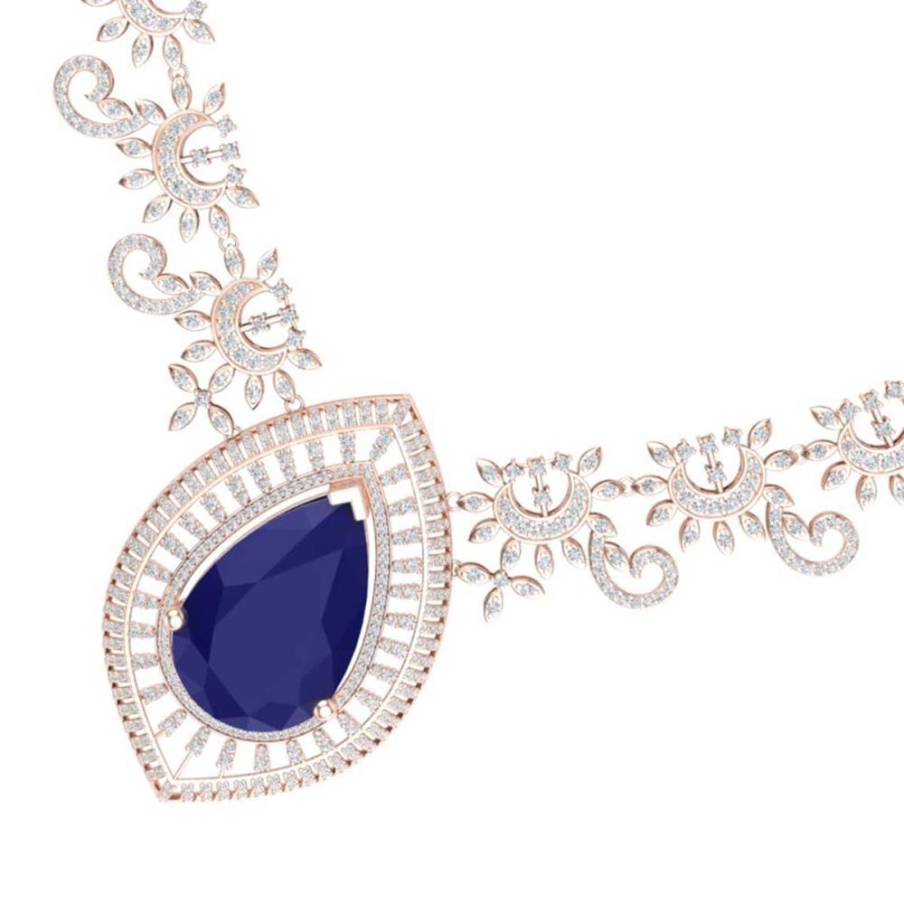 65.75 ctw Sapphire & VS Diamond Necklace 18K Rose Gold - REF-1436Y4X - SKU:39781