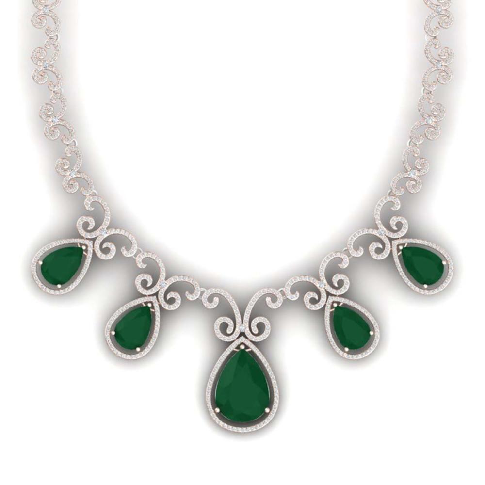 38.42 ctw Emerald & VS Diamond Necklace 18K Rose Gold - REF-1218A2V - SKU:39526
