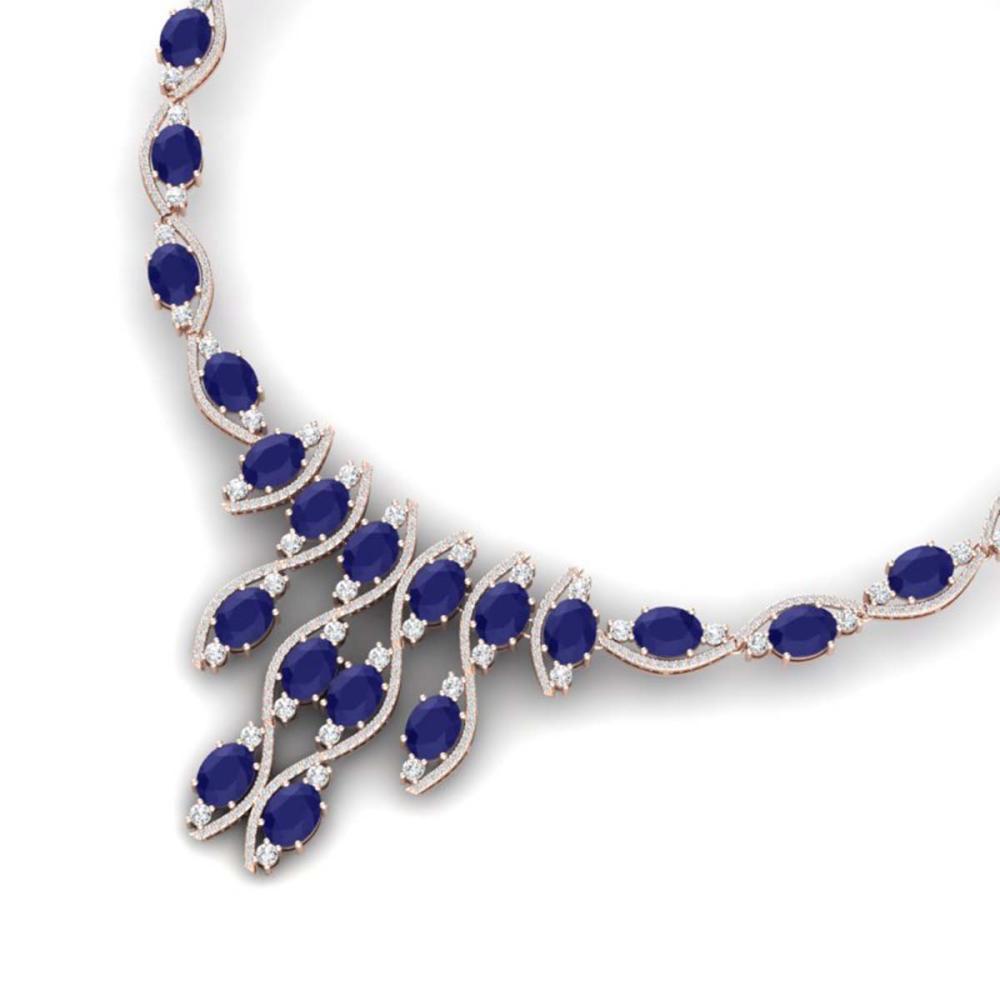 65.93 ctw Sapphire & VS Diamond Necklace 18K Rose Gold - REF-1072H7M - SKU:39001