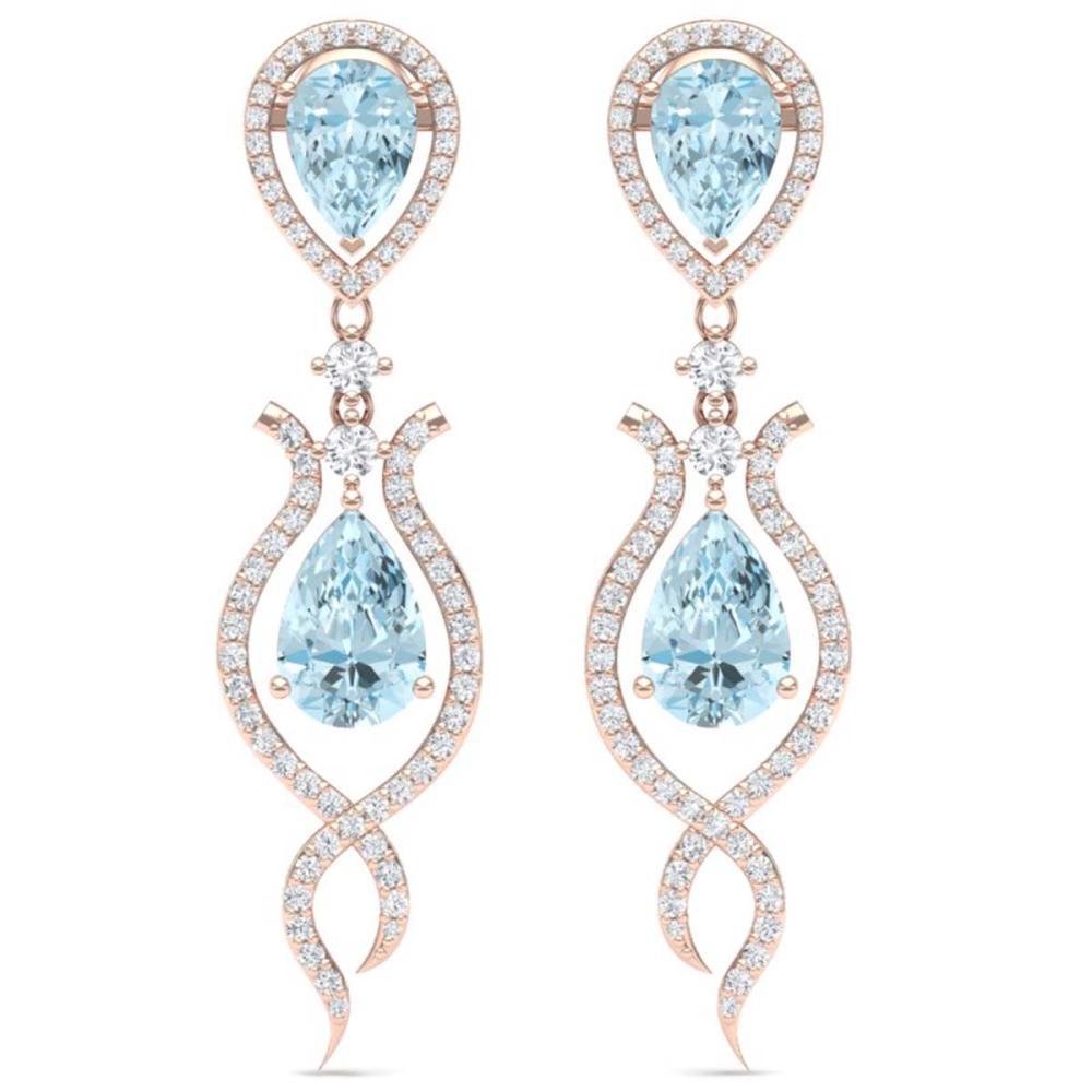 16.57 ctw Sky Topaz & VS Diamond Earrings 18K Rose Gold - REF-290W9H - SKU:39520