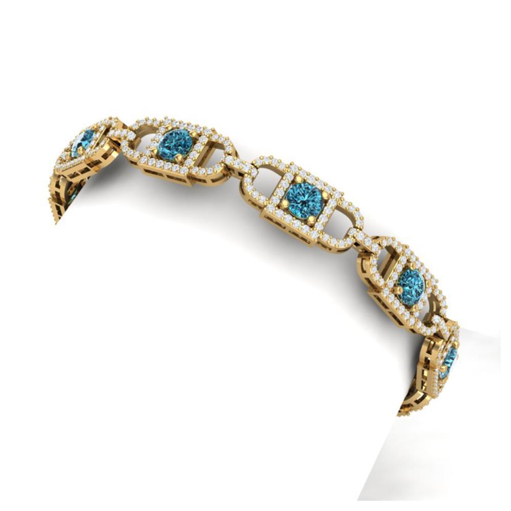 8 ctw SI/I Intense Blue And White Diamond Bracelet 18K Yellow Gold - REF-673M5F - SKU:40144