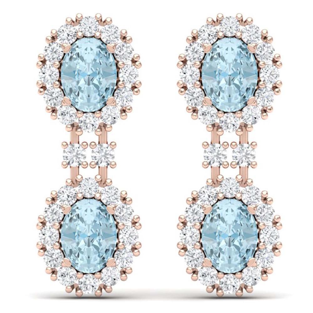 8.8 ctw Sky Topaz & VS Diamond Earrings 18K Rose Gold - REF-223H6M - SKU:38821