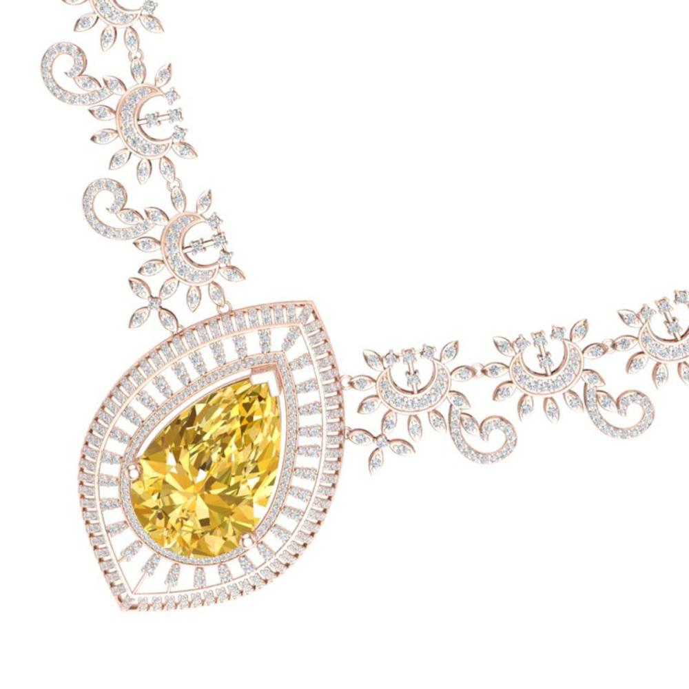 53.17 ctw Canary Citrine & VS Diamond Necklace 18K Rose Gold - REF-1309X3R - SKU:39787