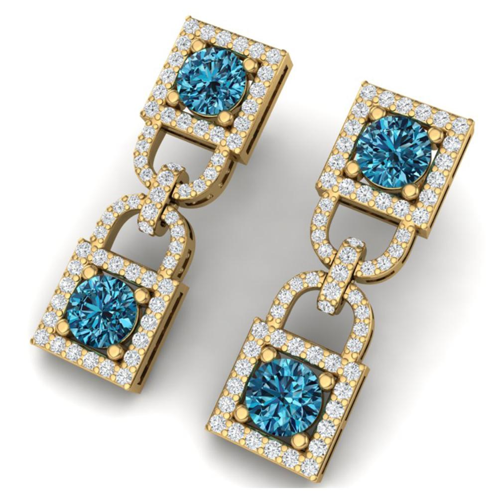 4 ctw SI/I Intense Blue And Diamond Earrings 18K Yellow Gold - REF-292W5H - SKU:40162