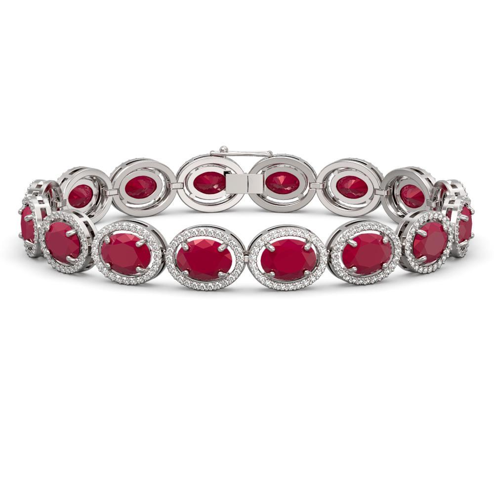 31.79 ctw Ruby & Diamond Halo Bracelet 10K White Gold - REF-390F9N - SKU:40700
