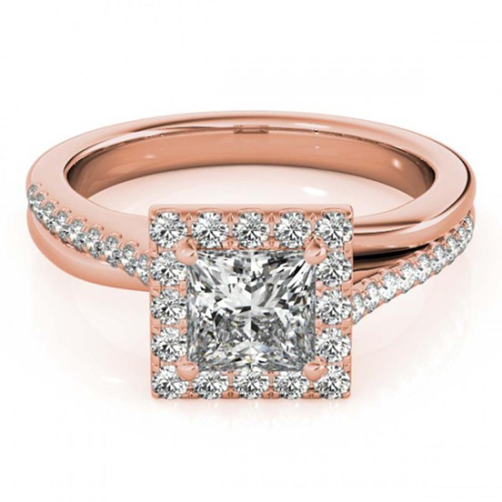 1.50 ctw VS/SI Princess Diamond Halo Ring 18K Rose Gold - REF-299K4W - SKU:27202