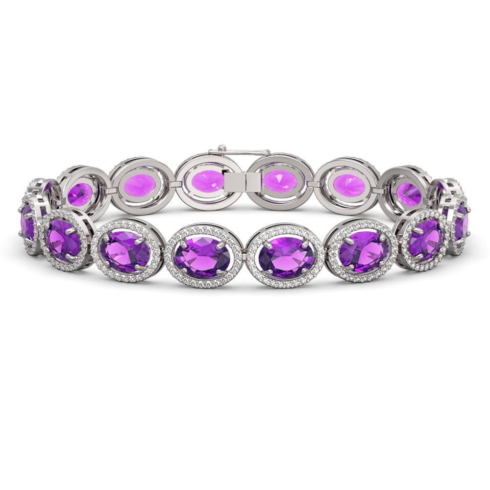 24.72 ctw Amethyst & Diamond Halo Bracelet 10K White Gold - REF-261H3M - SKU:40736