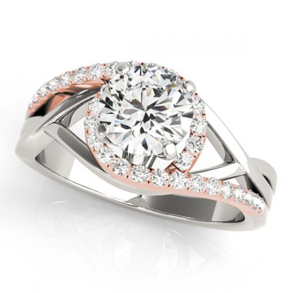 1.30 ctw VS/SI Diamond Bypass Solitaire Ring 18K White & Rose Gold - REF-297W5H - SKU:27687