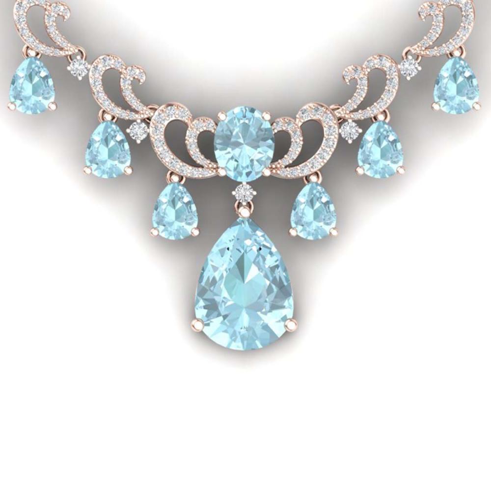 34.69 ctw Sky Topaz & VS Diamond Necklace 18K Rose Gold - REF-836N4A - SKU:38665
