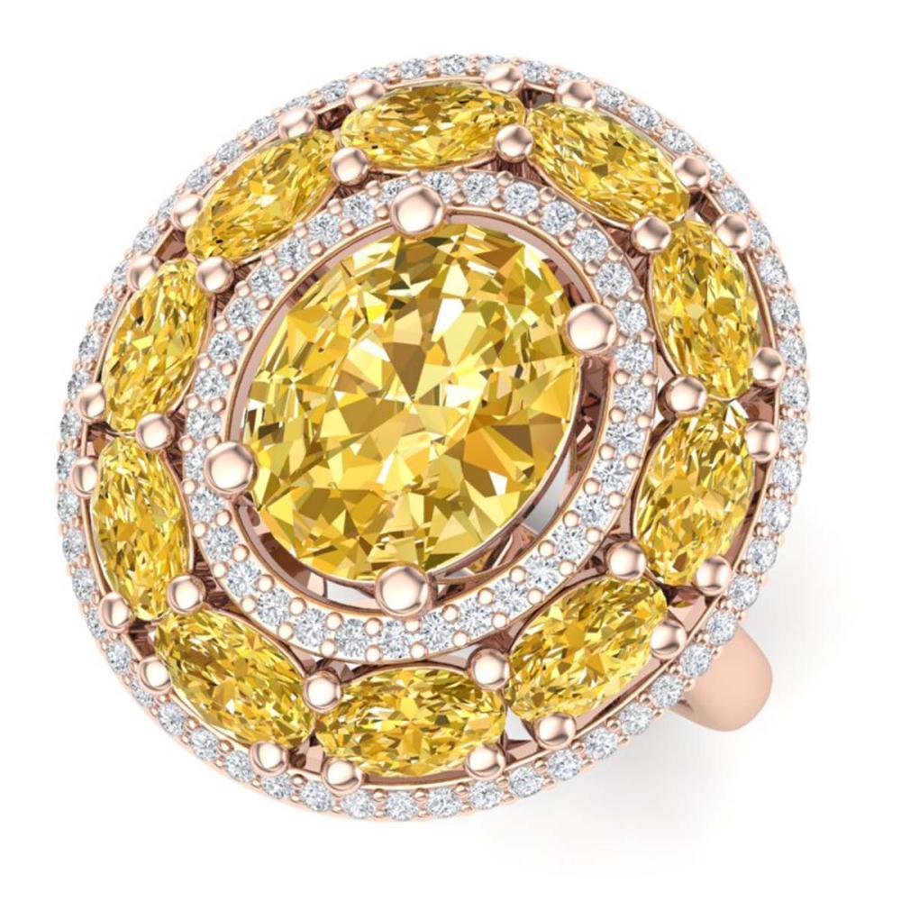 7.21 ctw Canary Citrine & VS Diamond Ring 18K Rose Gold - REF-163A6V - SKU:39253
