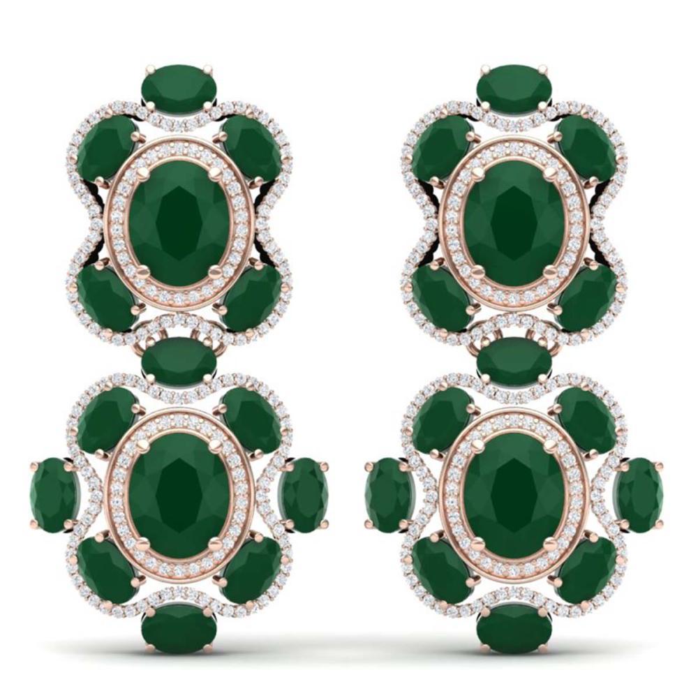33.5 ctw Emerald & VS Diamond Earrings 18K Rose Gold - REF-518X2R - SKU:39310