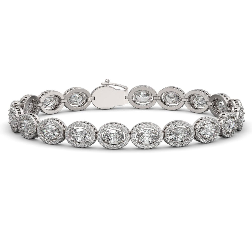 15.20 ctw Oval Diamond Bracelet 18K White Gold - REF-2101K2W - SKU:42707