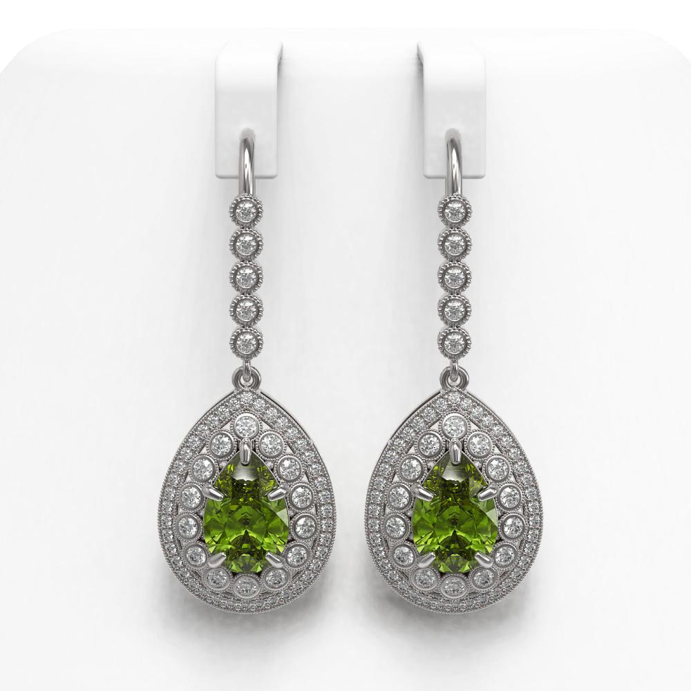 9.95 ctw Tourmaline & Diamond Earrings 14K White Gold - REF-318H4M - SKU:43166