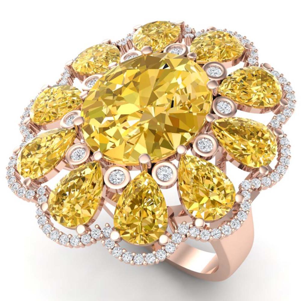 18.53 ctw Canary Citrine & VS Diamond Ring 18K Rose Gold - REF-290Y9X - SKU:39151