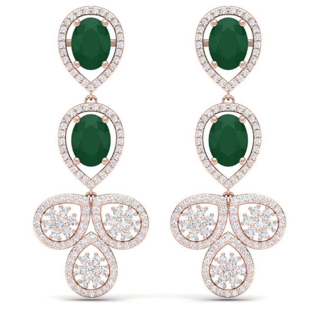 9.75 ctw Emerald & VS Diamond Earrings 18K Rose Gold - REF-309K3W - SKU:39079