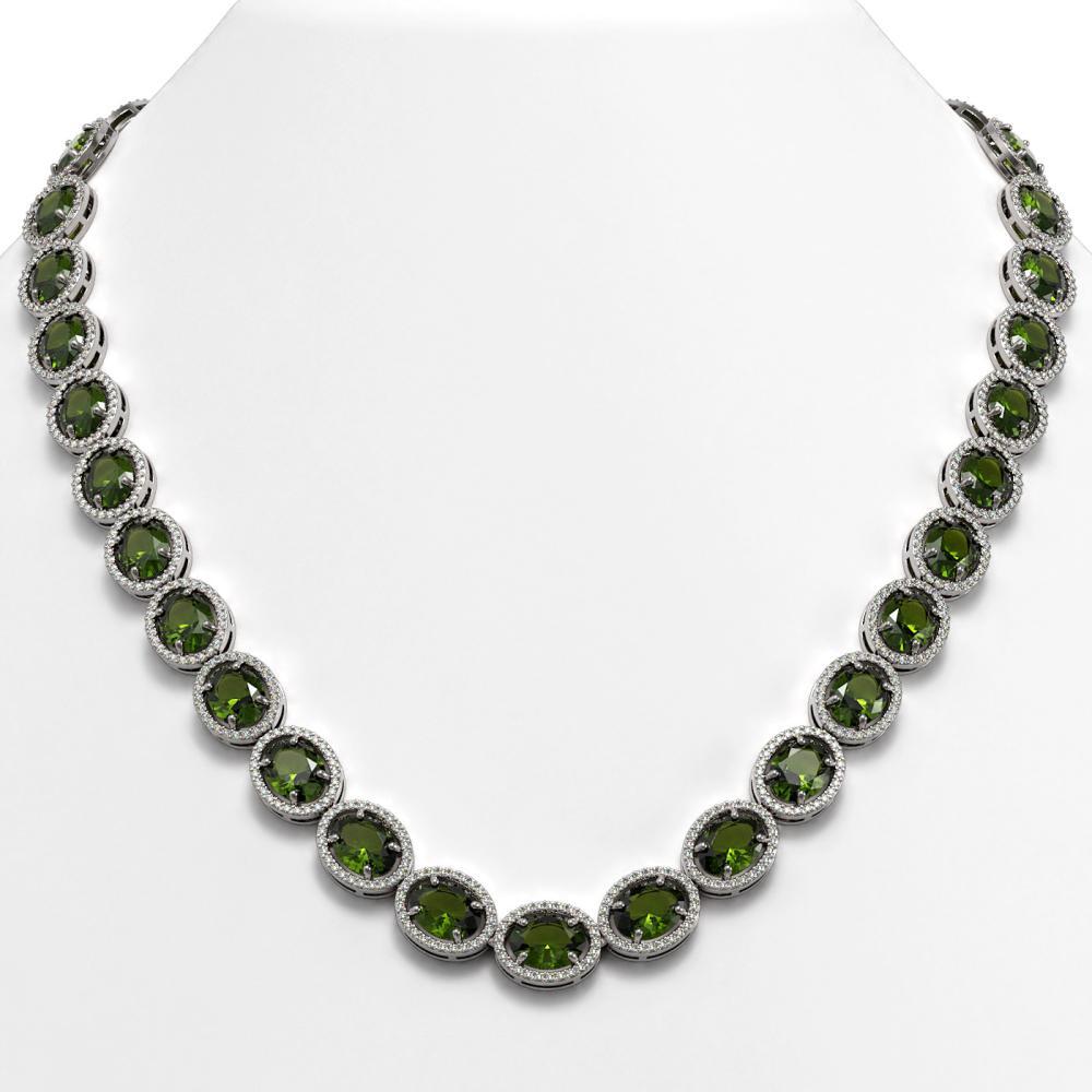 54.48 ctw Tourmaline & Diamond Halo Necklace 10K White Gold - REF-807Y3X - SKU:40670