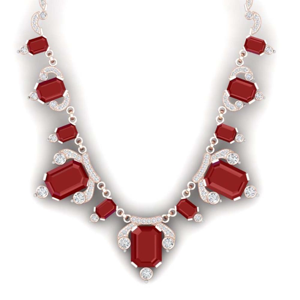 75.21 ctw Ruby & VS Diamond Necklace 18K Rose Gold - REF-1363R6K - SKU:38749