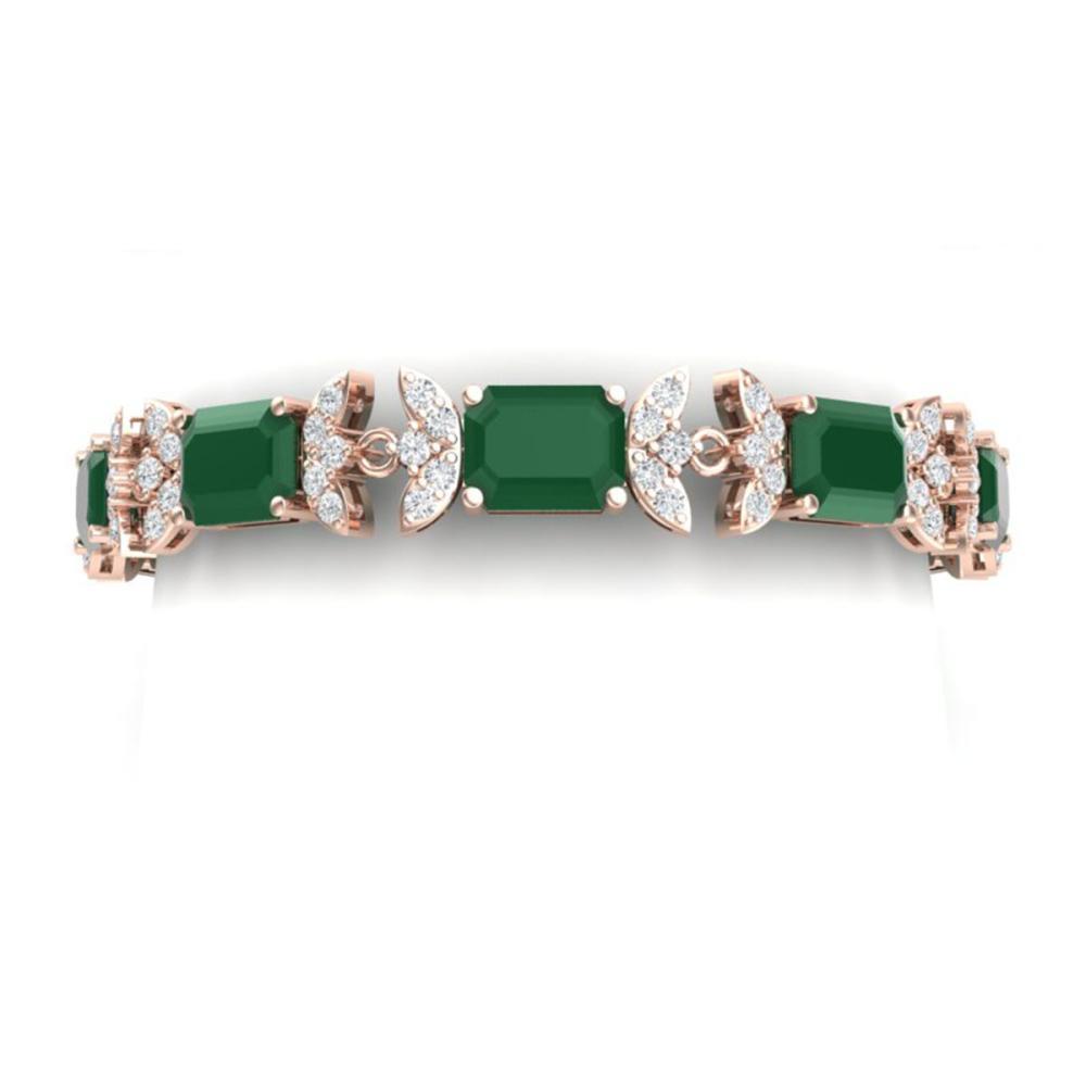 38.13 ctw Emerald & VS Diamond Bracelet 18K Rose Gold - REF-527F3N - SKU:39391